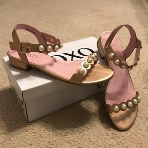 XOXO Rose Gold metallic leather pearl trim sandals